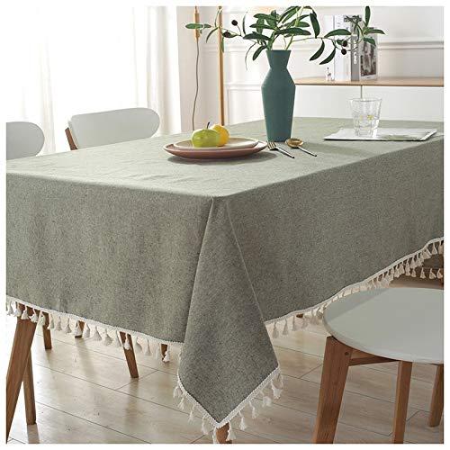 Mantel Mantel de algodón color sólido tela de mesa rectangular Mesa de comedor cubierta de mesa de café simples manteles Llanura Mantel JFCUICAN ( Color : Verde claro , Specification : 120*120cm )