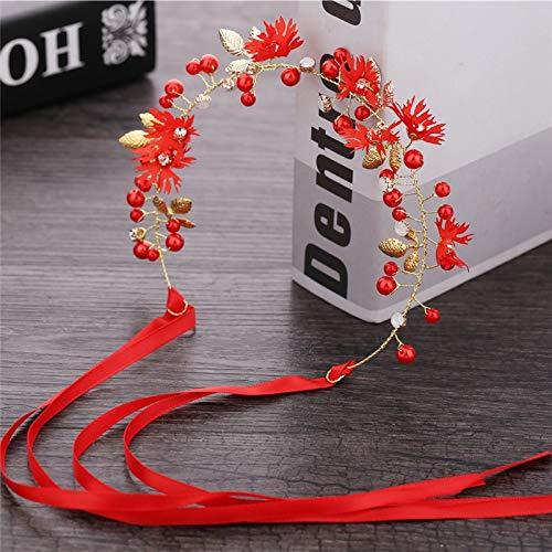 SSB-TOUDAI, Accessoires de Cheveux de mariée Barrettes Blanc/Rouge Fleur de Marguerite avec Perle Or Feuille Bandeau Femmes Mariage Floral Guirlande Bandeaux (Color : Red)