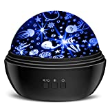 Star Projector Night Lights for Kids, MOKOQI Novelty Moon Star/ Sea Animal 2-in-1 Night Lighting Lamp, Multi-Color Star Light Rotating Projector Toys for 2-8 Years Old Boys Girls Gifts