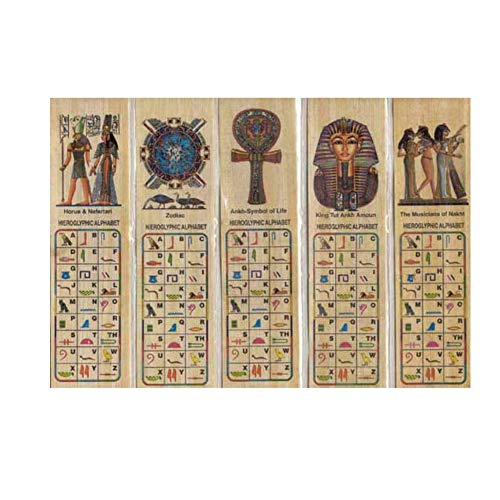 Set di 100 segnalibri di papiro egiziano, segnalibri educativi con alfabeti geroglifici e latini.