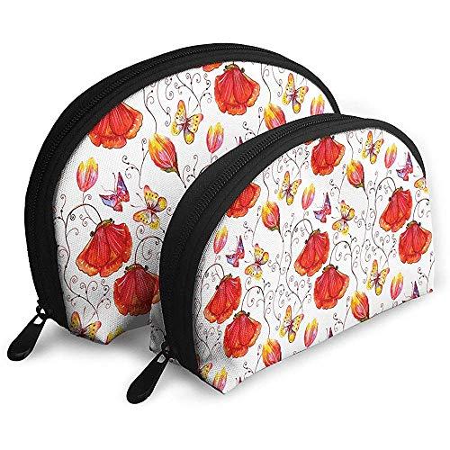 Schmetterlinge und Blumen Wirbelstreifen Tragbare Taschen Kosmetiktasche Kulturbeutel Tragbare Multifunktions-Reisetaschen mit Reißverschluss