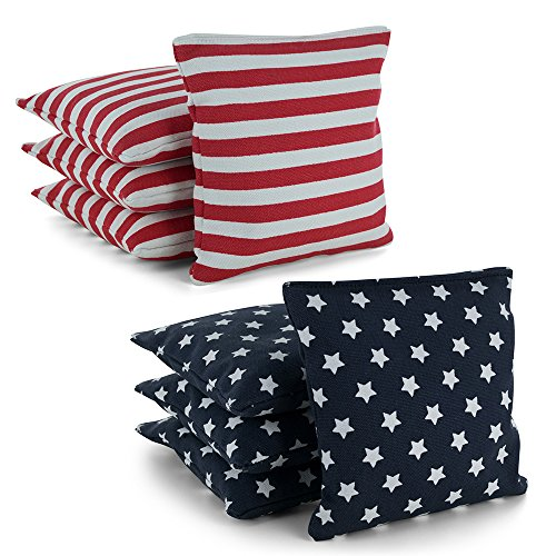 Tailor Spot All Weather Resistant Cornhole Bean Bags (Set of 8) Set Standard ACA/ACO Regulation Plastic Resin Filled 25+ Colors (Stars, Stripes)