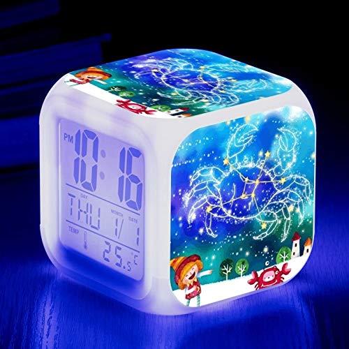 fdgdfgd Reloj Despertador del Zodiaco de Moda Colorido 3D LED número Creatividad para niños con termómetro Reloj de Fecha decoración de Dormitorio