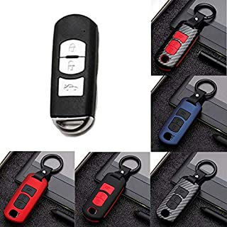 Key Case for Car - Car 2 Button 3 Button ABS Carbon Style Remote Smart Key Cover Fob Case Shell for for Mazda 2 3 5 6 CX3 ...
