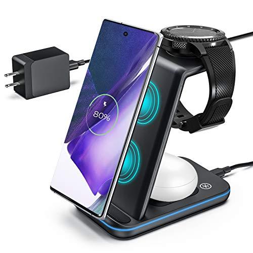 ZHIKE Carregador sem fio, estação de carregamento rápida 3 em 1 compatível com Samsung S20/Note 20/S10, base de carregamento sem fio para Galaxy Watch 3/Active 2,1/Gear S3/S2/Sport e Bud(com adaptador)