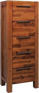 yorten Cómoda de Madera, con 5 Cajones Mueble de Cajones Robusta y Duradera Madera Acacia Maciza 45x32x115 cm