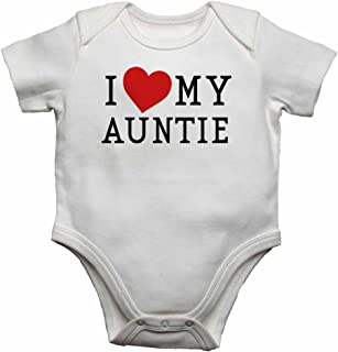 I Love My Auntie - Personalised Baby Vests Bodysuits Baby Grows for Boys, Girls - White - 3-6 Months
