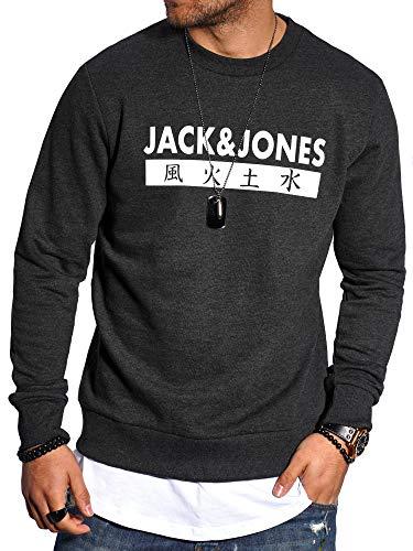 JACK & JONES - Sudadera para Hombre, Cuello Redondo, 4 Elementos (Medium, Dark Grey Melange)