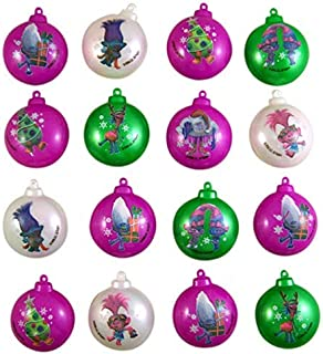 Trolls Themed Miniature Plastic Candy Filled Ornaments, Pack of 16