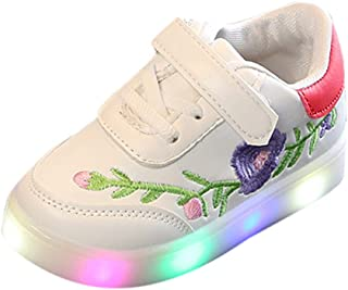 Sceoyche Kids LED Light Shoes, Toddler Luminous Sport Shoes Velcro Sneakers Embroidery Breathable Outdoor Shoes Non-slip Walking Shoes Soft Running Shoes Casual for Girls Boys