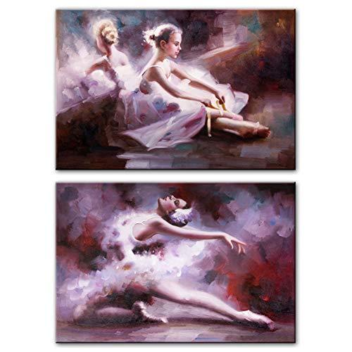 Ballerina Girl Wall Art Canvas Prints Moderne Posters En Prints Danseres Pop Art Canvas Schilderijen Voor Woonkamer -50x70cm x2pcs Geen frame