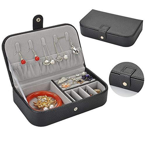 Unbekannt Modeschmuckschatulle Eleganter Schmuck-Box Compact Kunstleder Reise Jewellery Box Snap-Taste Organizer Hauptdekoration (Color : Black)