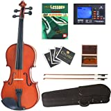 Cecilio CVN-100 Solid Wood Student Violin with Tuner and Lesson Book, Size 1/16