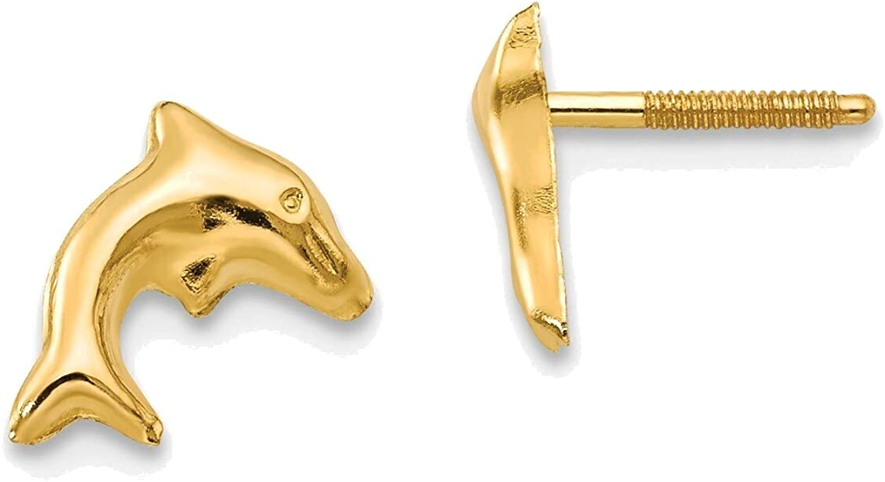 Madi K Sm. Dolphin Earrings in 14K Yellow Gold