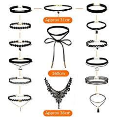 Rovtop 15 Pieces Choker Necklace for Women Girls, Black Classic Velvet Stretch Gothic Tattoo Lace #4