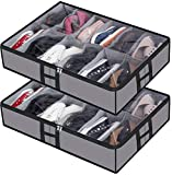 Under Bed Shoe Storage Organizer, Closet Shoes Storage Boxes Bin Container (2 Pack Fits 24 Pairs) with Clear Cover and Reinforced Handle for Sneakers,Clothes, Toys, Gray