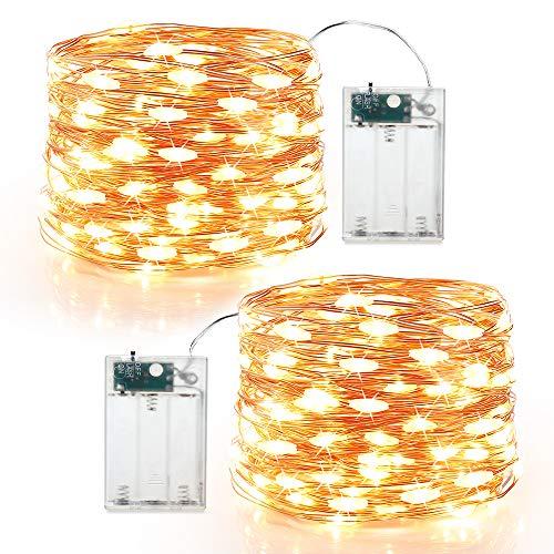 BrizLabs 2 x 60 LED Micro Lichterkette Batterie 6M Kupferdraht Sterne Lichterketten Innen Batteriebetrieben Beleuchtung für Party Garten Weihnachten Halloween Zimmer Hochzeit DIY Deko (Warmweiß)