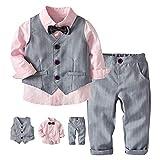 G-kids Conjunto de ropa para bebé, traje para niños pequeños, bautizos, bodas, Navidad, chaquetas, trajes, pajarita, traje de juego, camisa, pantalón y chaleco Rosa. 5 Años