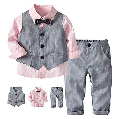 G-kids Baby Jungen Bekleidungsset Gentleman AnzugKleinkinder Taufe Hochzeit Weihnachten Sakkos Anzüge Fliege SpielanzugHemd+Hose+Weste (Rosa, 110/4 Jahre)