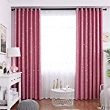 1 Panel Children Blackout Curtains Eyelet Kid Curtain with Star and Moon Pattern