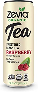 Zevia Organic Black Tea Raspberry, 12 Count, Sugar-Free Brewed Iced Tea Beverage, Naturally Sweetened with Stevia, Zero Calories, No Artificial Sweeteners