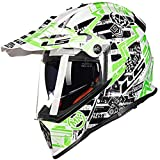 ZHXH Casco integral de motocross para adultos Certificación de punto/Módulo anticolisión de carrera en carretera Casco abatible Protección de rally y gafas dobles abatibles (floral, blanco)