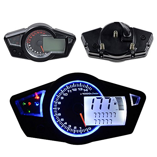 Terisass Motorcycle Speedometer Motorbike Colorful LCD Digital Odometer Tachometer w//Speed Sensor Universal