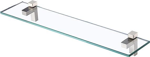 KES Gehard Glas Plank 60CM Badkamer Plank Wandmontage 8MM Extra Dikke Rechthoekige Geborsteld Nikkel Beugel, BGS3201S60-2
