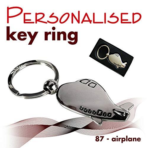 BeCreative Gepersonaliseerde sleutelhanger gegraveerd met tekst, naam, logo (87 - vliegtuig)