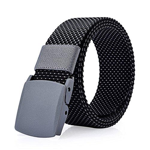 ITIEZY Herren Jeans Gürtel Canvas Belt Webbing Gürtel- Gr. 125cm, Schwarz/Grau