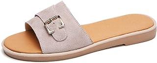 Hemore Women Mules Sandals Suede Flat Flip Flops Simple Style Flat Mules Sandals Peep Toe Summer Beach Shoes