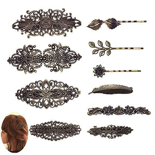 Jurxy 10 Stück Retro Metall Französische Haarnadel Damen Haarspangen Hair Clip Vintage Haarklammer Bronze Blatt Bobby Pin Blume Klemmen Haarschmuck Haar Sticks für Damen Frauen Mädchen