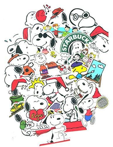 SetProducts Top Aufkleber! Set von 60 Snoopy Aufkleber - Premium Qualität - Vinyls Stickers Nicht Vulgär – Peanuts, Stil, Bombe, Graffiti - Anpassung Laptop, Gepäck, Motorrad, Fahrrad, Skateboard
