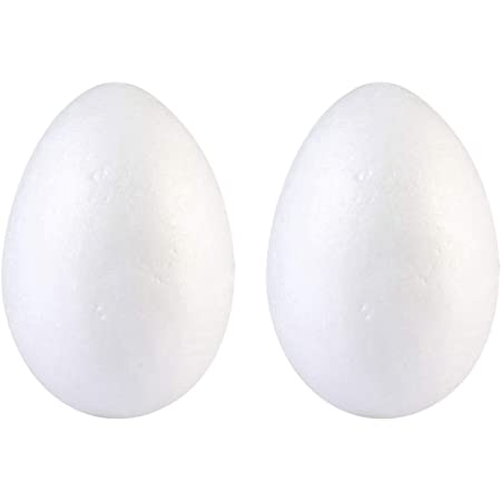 PRETYZOOM 45pcs White Craft Styrofoam Eggs Polystyrene Foam Egg for Christmas Holiday Crafts DIY Art Painting School Projects