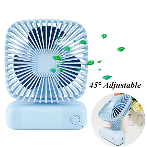 Portable Fan Mini Handheld Desk Personal Fan Angle Adjustable USB Rechargeable 3 Speed Small Table Fan for Home Office Outdoor Travel Blue