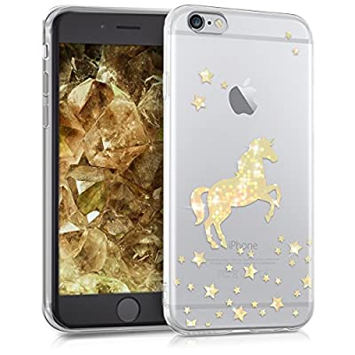 kwmobile Funda Compatible con Apple iPhone 6 / 6S - Carcasa de TPU Unicornio Brillante en Dorado/Transparente