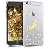kwmobile Carcasa Compatible con Apple iPhone 6 / 6S - Funda de TPU Unicornio Brillante en Dorado/Transparente