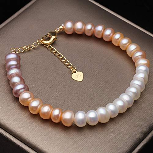 LXMYLI Pulsera De Perlas De Colores Naturales para Mujer, Botón Clásico, Pulsera De Perlas De Agua Dulce, Regalo De Boda