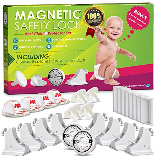 Invisible Magnetic Cabinet Locks Child Safety Kit, Secure Kitchen & Bedroom Cabinets. Cupboards with 8 Baby Proofing Cabinets Door & Drawer Locks for Kids & Toddlers. 2 Keys & 3M Adhesive Straps.