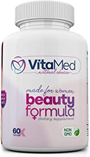 Beauty Formula - Hair, Skin & Nail Support for Women - Natural, Non-GMO, 60 Coated Tablets