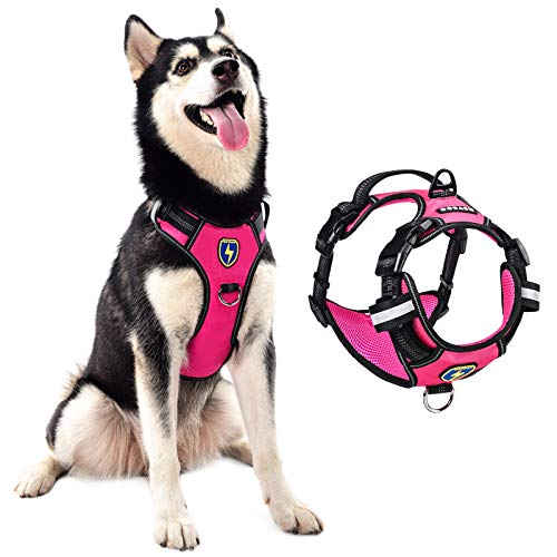 MeyKoo Dog Harness No Pull Soft Breathable,Easy Put on &Off No Choke Control Training Handle Outdoor Walk Joyride,Adjustable Reflective Padded Leash Vest Harness for Small Medium Large Dogs (L, Pink)