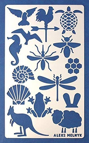 Aleks Melnyk #9 Metal Journal Stencil, 1 PCS/Small Animals, Sea Turtle, Frog, Gull, Seagull, Dove, Seahorse/Template for Wood Burning, Engraving/Crafting, Art