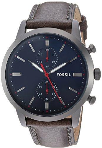 Fossil Herren Chronograph Quarz Uhr mit Leder Armband FS5378
