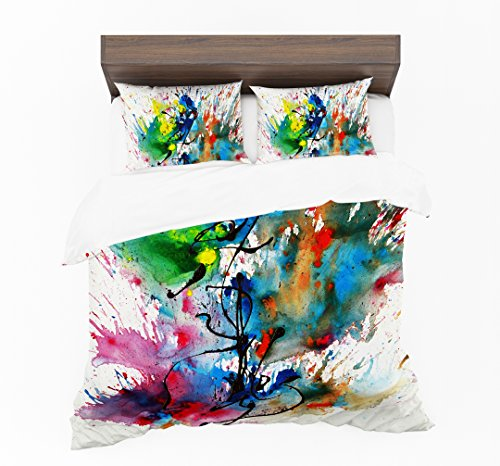 Adam Home 3D stampa digitale copripiumini e cuscini–Colourfull Splash (singolo, doppio, king, super king, Imperatore), Duvet Cover, Single (135x200cm) + 1 x Pillowcase (50x75cm)