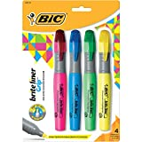 BIC Brite Liner Highlighter with Rubber Grip, Chisel Tip, Assorted, Pack of 4 - BLMGP41-A-AST
