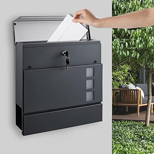 BONADE Briefkasten, Wandbriefkasten Anthrazit mit Sichtfenster, Postkasten aus Verzinkter Stahl + Edelstahl, Zeitungsfach, Abschließbare Mailbox mit 2 Schlüsseln