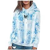 WAo Sudadera casual con capucha y estampado de mariposas, para mujer, de manga larga, con bolsillos, azul, XS