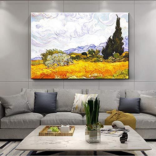wZUN Pintura Famosa de Van Gogh, Arte impresionista del Campo de Trigo y reproducción de cipreses en la Pared, Imagen de Lienzo en la Pared 60X90 Sin Marco