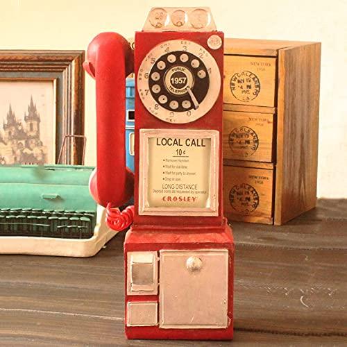 Vintage Girar Clásico Look Dial Pay Teléfono Modelo Retro Cabina Decoración del Hogar Ornamento