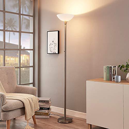 Lindby Stehlampe 'Ignacia' (Modern) in Alu aus Metall u.a. für Wohnzimmer & Esszimmer (1 flammig, E27, A++) - Deckenfluter, Stehleuchte, Floor Lamp, Standleuchte, Wohnzimmerlampe, Wohnzimmerlampe